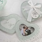 Frosted Heart Shaped Photo Coaster Favor Set